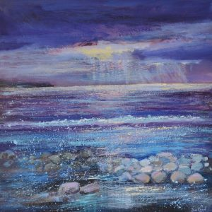 Evening light at Millook painting by Sue Read