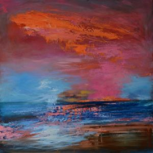 sunset over Lundy oil on aluminium painting