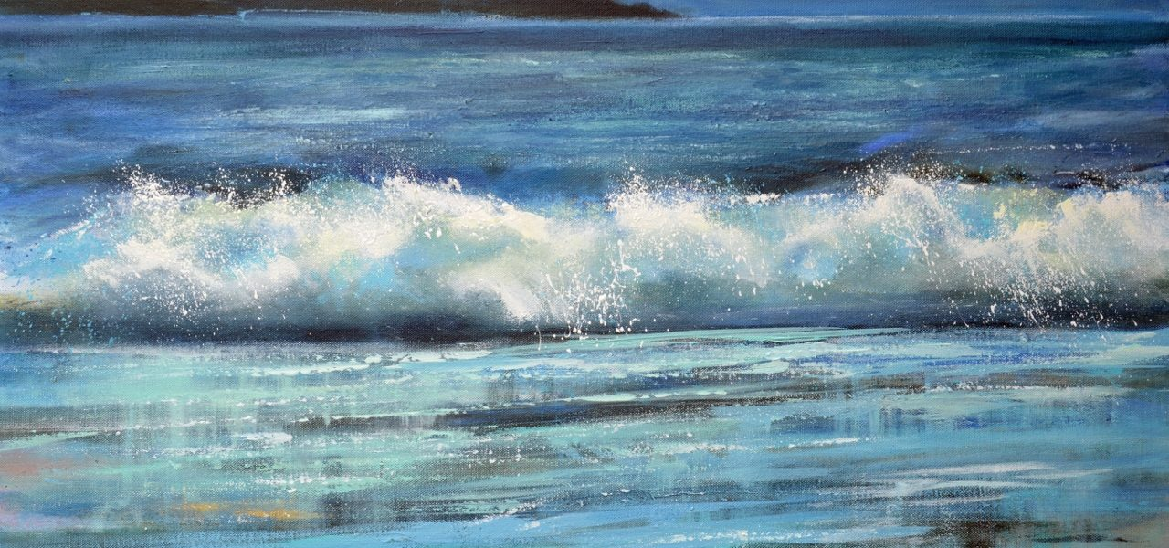 Moonlight Cornwall, Sue Read artist, Sue Read Cornish artist, Cornwall surf art, Cornwall wave painting, Night painting, Cornwall art print, Cornish artist prints