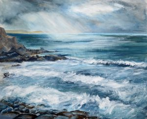 Bude Seascape from Bude Breakwater painting by Sue Read