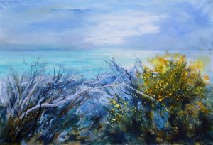 Seascape with Flora of North Cornwall by Bude artist, Sue Read