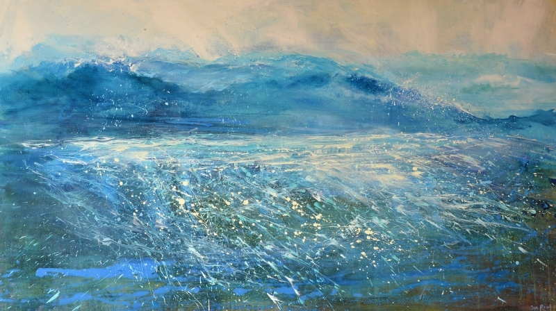 large Cornish seascape of North Cornwall coast titled Surrender
