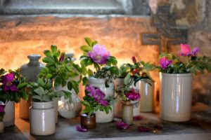 chapel with wild roses arrangements