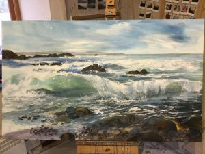 cornish wave painting duckpool