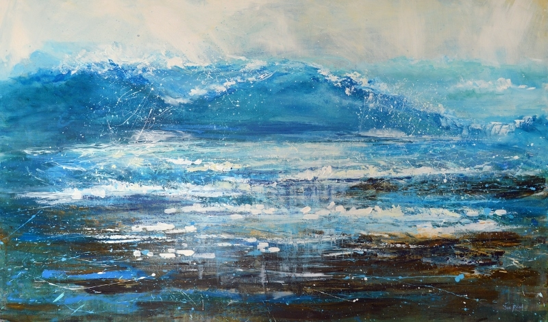 Wave painting, Surf Art, Surf art cornwall, Sea painting Cornwall, cornish artist, Sue Read Bude artist,
