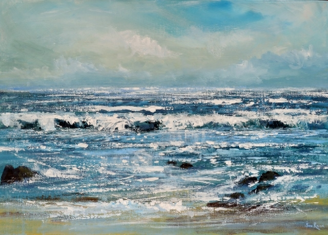 Northcott Mouth painting, Bude, seascape