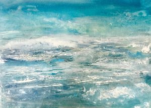 Blue seascape with silver and white on medium size canvas board
