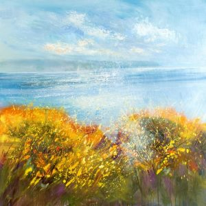 Cornish Gorse, Widemouth Bay, Painting across Widemouth Bay, Widemouth Bay art, Cornish artist prints, North Cornish coast, Coastal art Cornwall