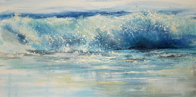 expressive wave painting, Shorebreak serices, Sue Read wave painting, Surf art Cornwall, Surf art, Cornwall waves, Bude, Bude surfing, Cornwall art prints, of a Shore break onto wet sand in North Cornwall