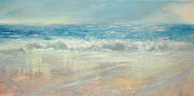 Cornwall seascape, Summer beach Cornwall, Bude artist, Cornwall artist print, cornish artist painting, Misty Cornwall, Cornwall best art, Cornish beach painting, Seascape of North Cornwall with a windswept beach and wet sand reflections