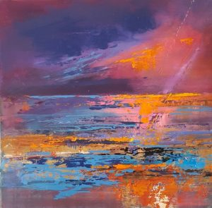 Sunset painting on aluminium