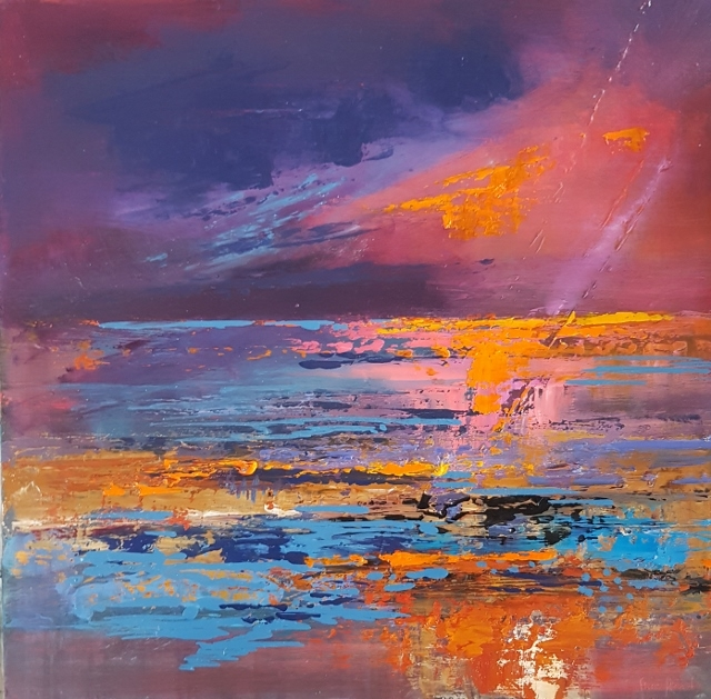 Cornwall Sunset painting, Cornwall art print sunset, Cornish sunsetSunset painting on aluminium