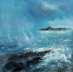 stormy painting of Summerleaze beach and breakwater Bude by Sue Read