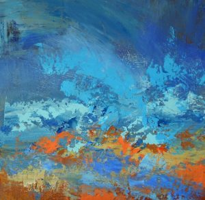 abstract seascape, oil on panel, colourist,