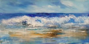 wave painting, cornwall surf, shorebreak, sea painting