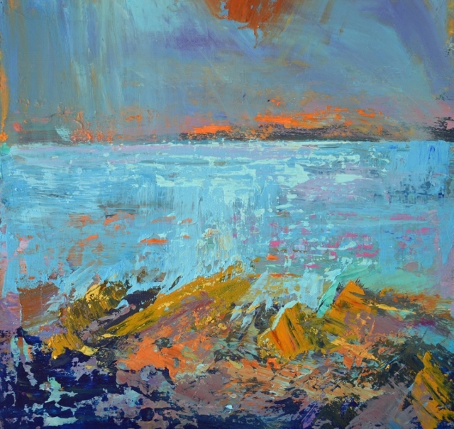 abstract cornish seascape, cornwall painting, cornwall seas,