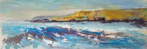 cornwall painting, Crooklets beach, Bude breakwater