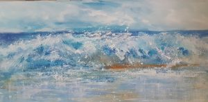 wave painting cornwall, surf art cornwall, shorebreak