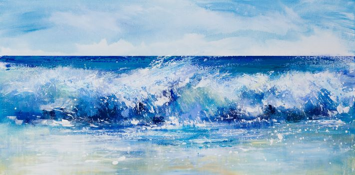 wave painting, surf art cornwall, cornwall art, cornwall seascape, Widemouth Bay painting, Cornish art painting,