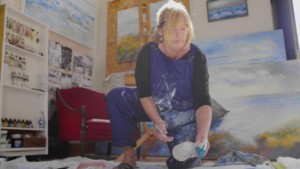 Sue Read Cornish artist, art Cornwall, Artist studio, Artist at work, Cornwall art Sue Read Painter of the Sea Cornwall, Cornish artist