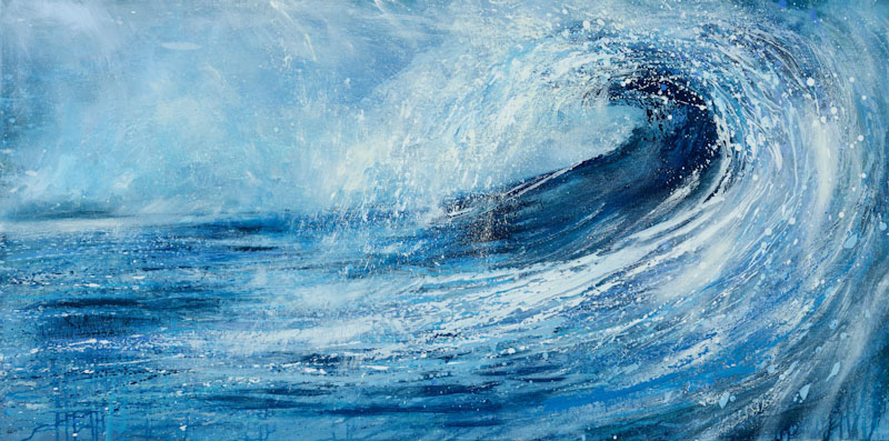 Surf art Cornwall, Sue Read artist, Bude artist, Wave painting