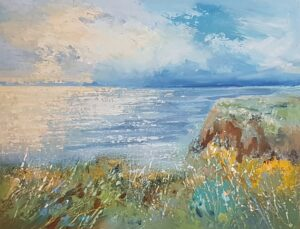 Seascape painting Bude to Northcott cliffs